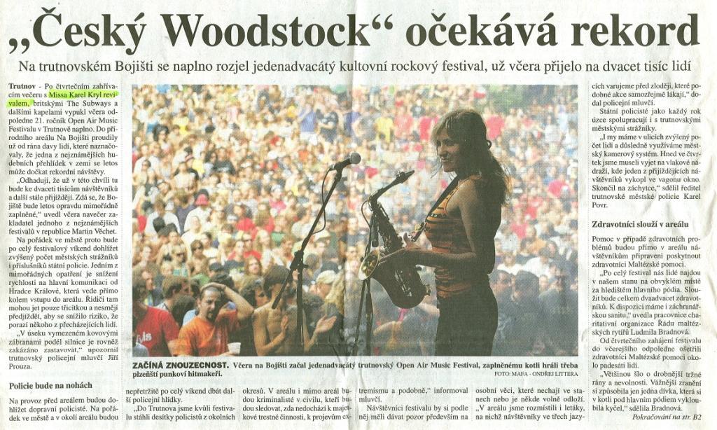 Recenze koncertu v Trutnově 2008